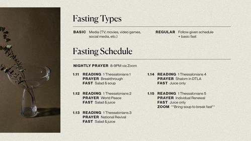 2021 Churchwide Fasting Schedule