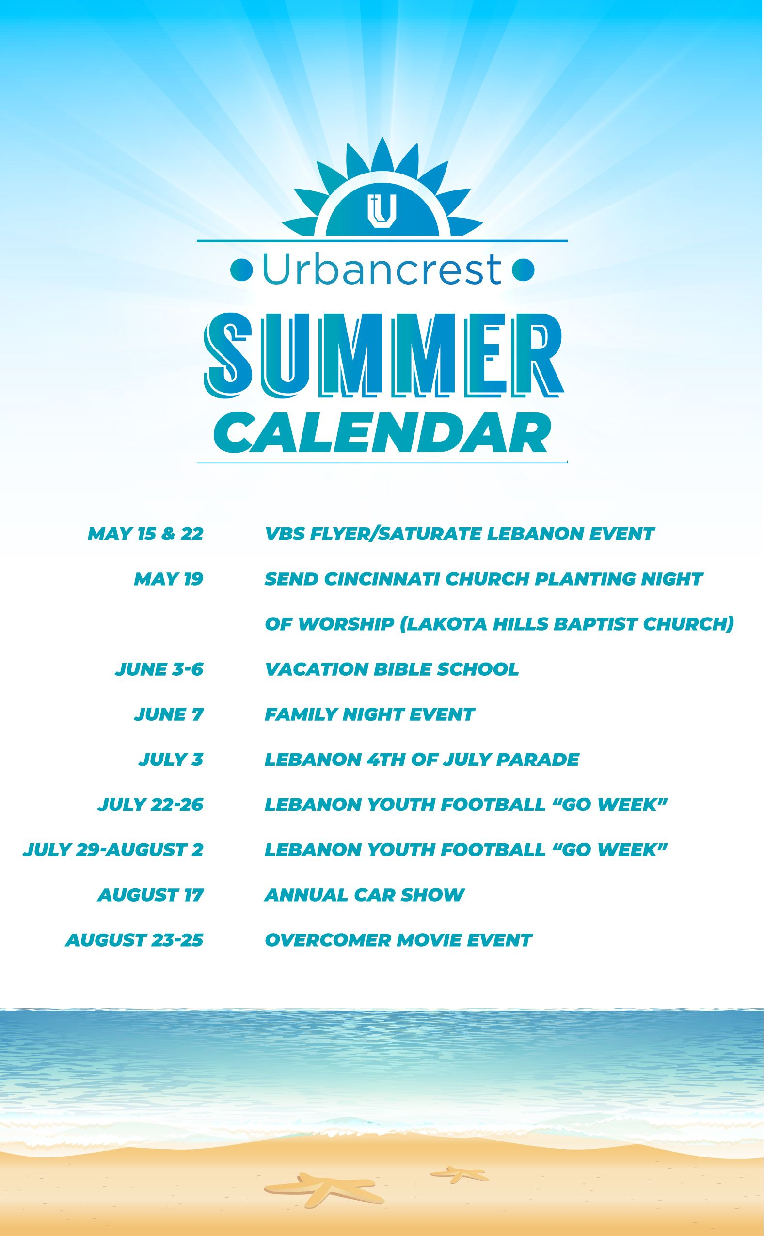 Urbancrest Summer Schedule
