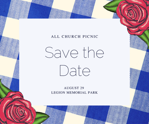 A graphic that says Save the Date: Graduation Sunday, All Church Picnic