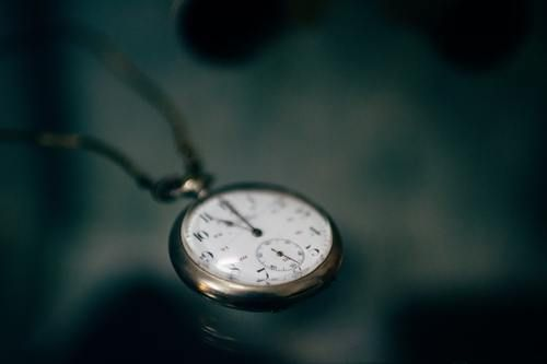 pocket watch laying on a table