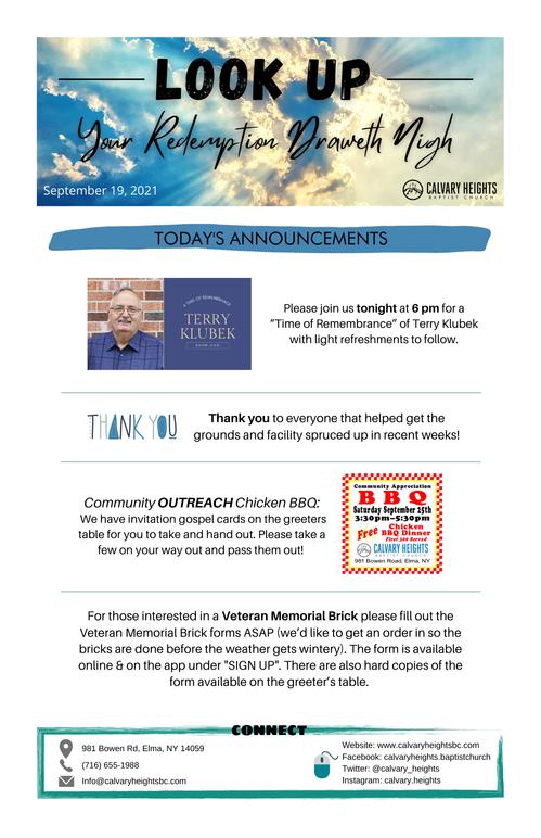Weekly Bulletin for Calvary Heights Baptist Church