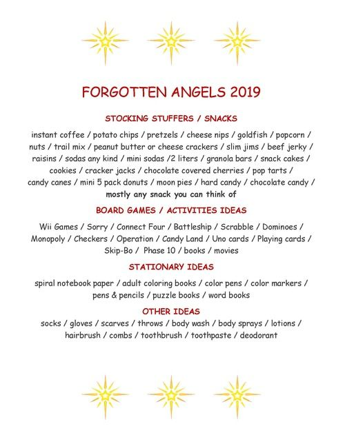 Forgotten Angel Needs List