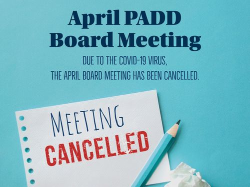 April Bd Mtg Cancelled