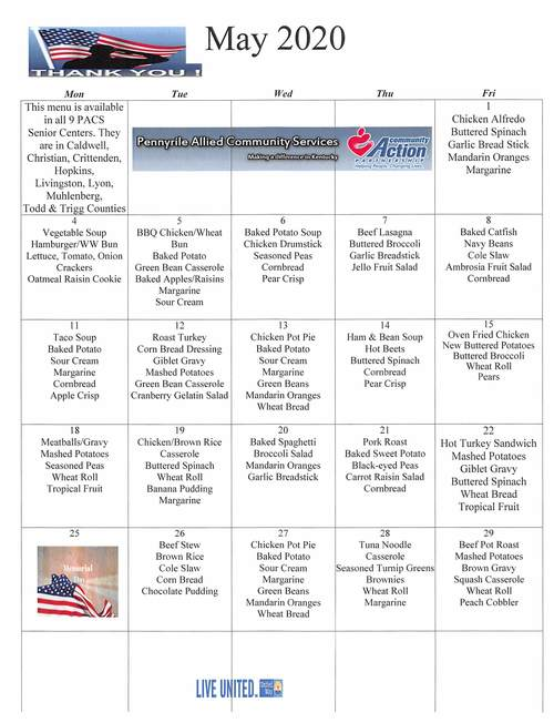 May 2020 PACS Senior Center Menu