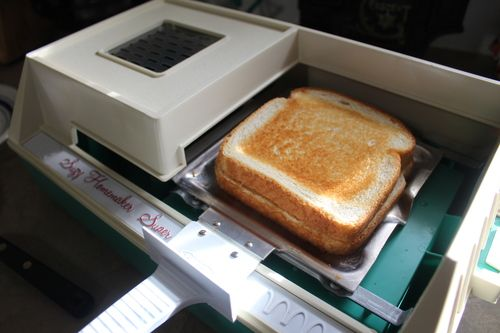 Cooking Grilled Cheese on Suzy Homemaker Grill