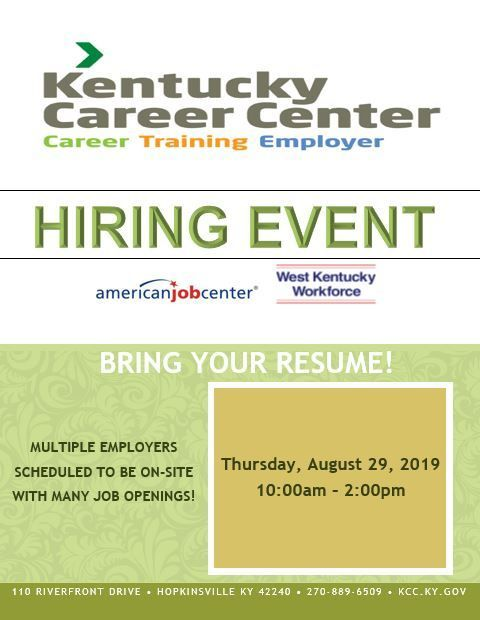 KCC Hopkinsville August 2019 Hiring Event