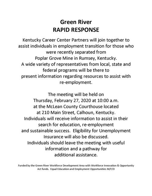 Poplar Grove Mine Rapid Response Flyer