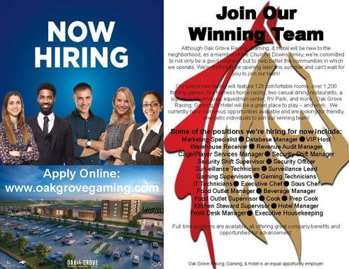 Oak Grove Gaming Jobs Flyer
