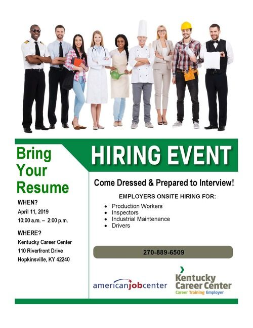 April 11 Hiring Event Flyer