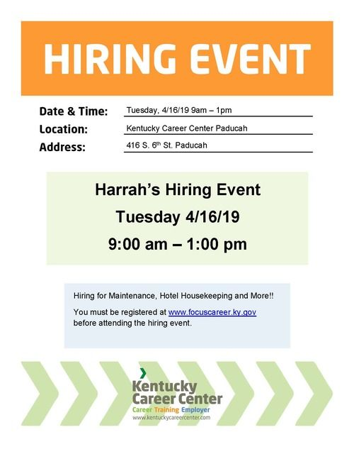 Harrah's Hiring Event Flyer