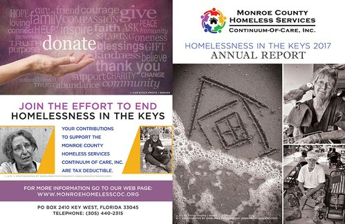 Monroe County homeless services 2017 annual report brochure outside file - call 305-440-2315 for more info