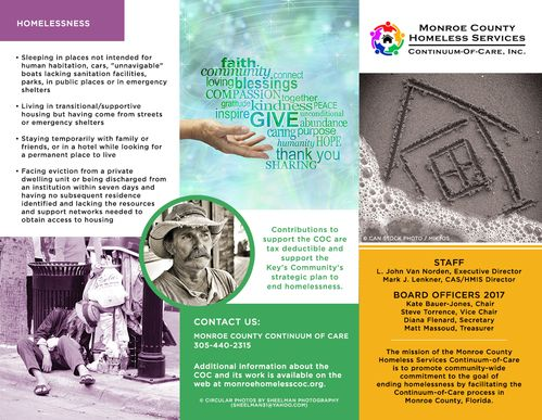 Monroe County Homeless Services outside file of the informative trifold brochure - call 305-440-2315 for more info