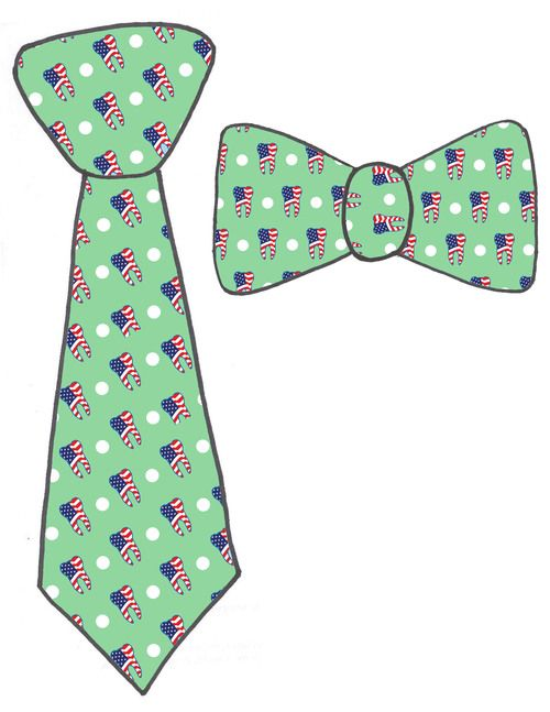 dental necktie and bow tie, green