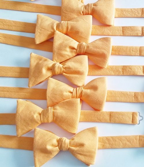 ORANGE LINEN BOW TIES