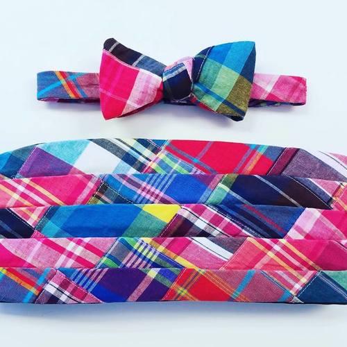 madras patchwork bow tie and cummerbund set