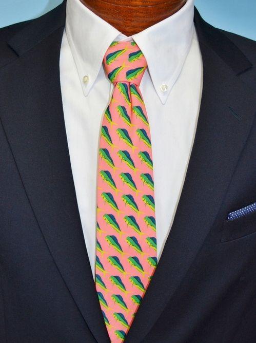 mahi mahi fish coral necktie