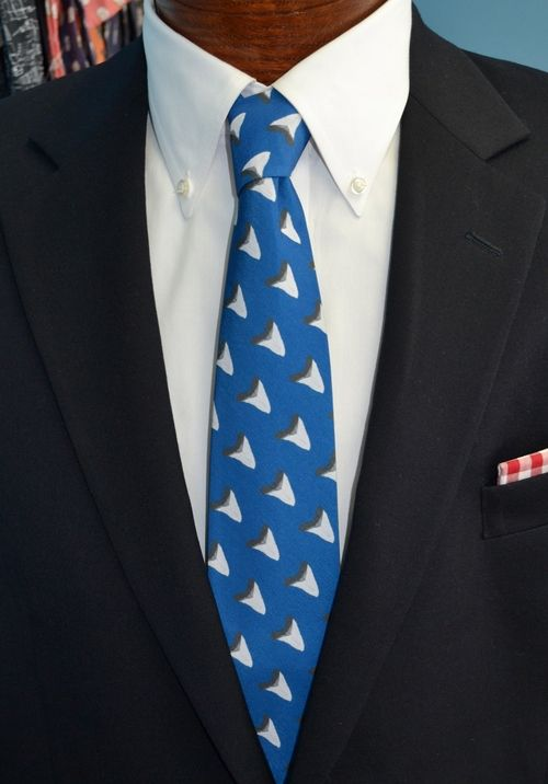 sharks tooth blue necktie