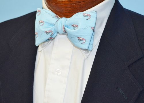 Shrimp light blue bow tie