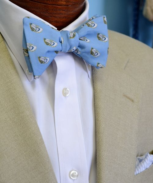 light blue oyster bow tie