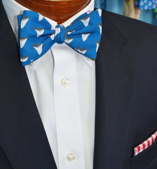 blue sharks tooth bow tie