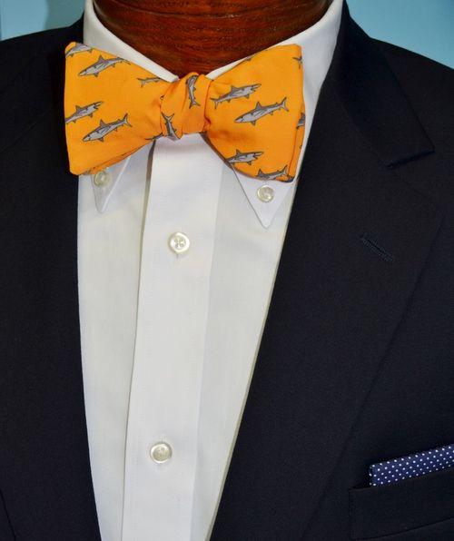 orange great white shark bow tie