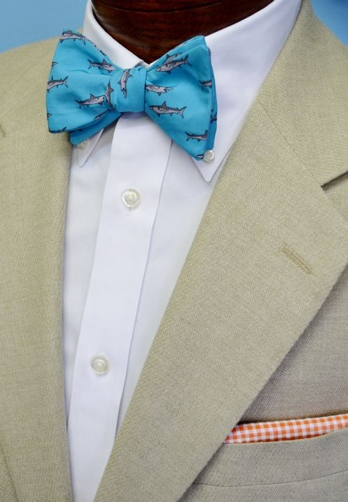 blue great white shark bow tie