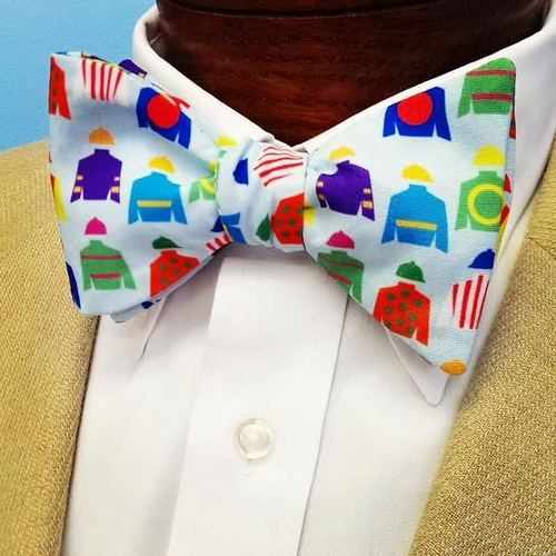 Jockey silks light blue bow tie