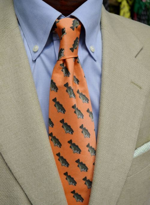 bass fish orange necktie