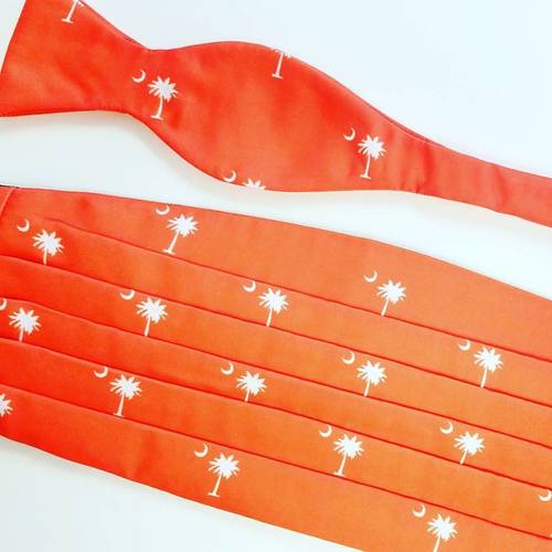 orange with palmetto trees cummerbund set