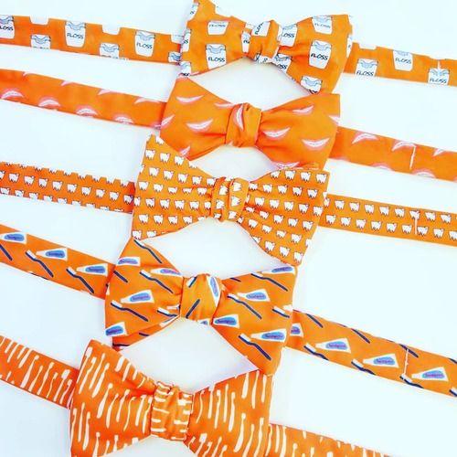orange dental themed bow ties