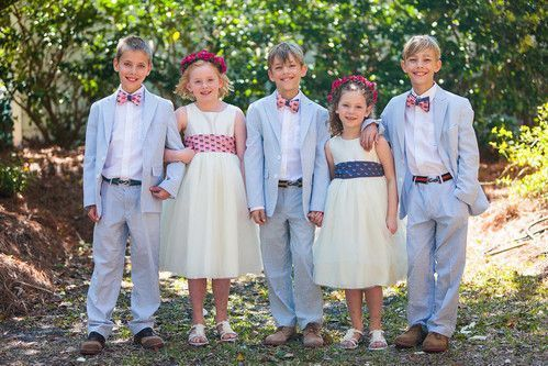 ring bearer bow ties and flower girl sashes custom made for coastal wedding