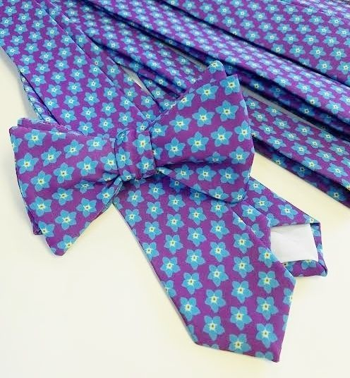 forget me not flower bow tie and necktie