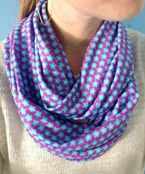 infinity scarf with a forget me not flower for alzheimers awareness