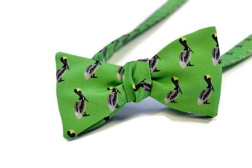 green pelican bow tie
