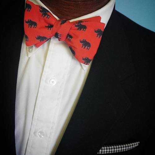 rhino bow tie, red bow tie