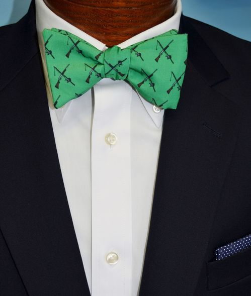 green rod and gun bow tie