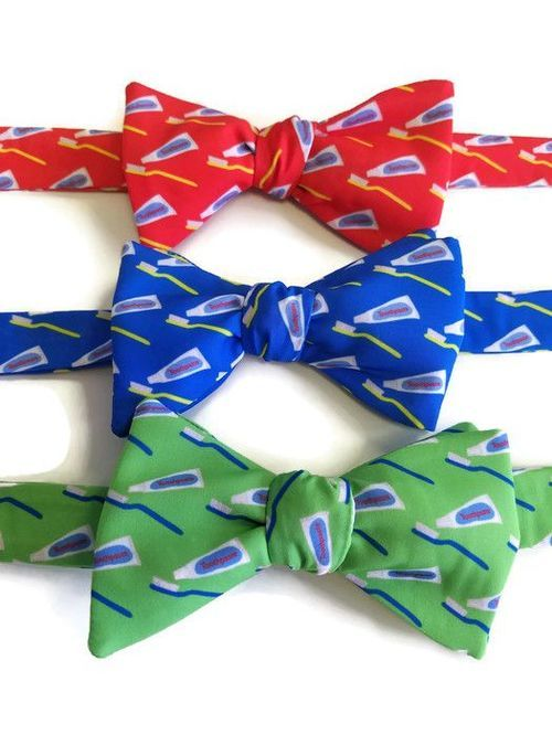 toothbrush and toothpaste bow ties