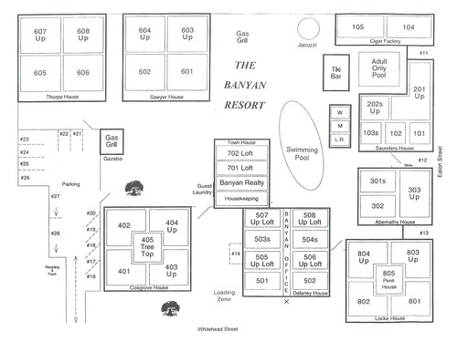 property map of The Banyan Resort, including swimming pool, jacuzzi, and gazebo with gas grill