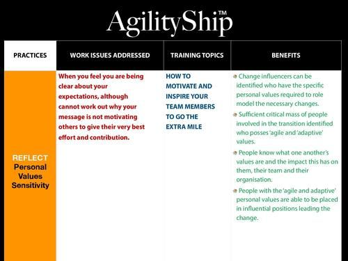 AgilityShip Practice #1 Personal Values Sensitivity