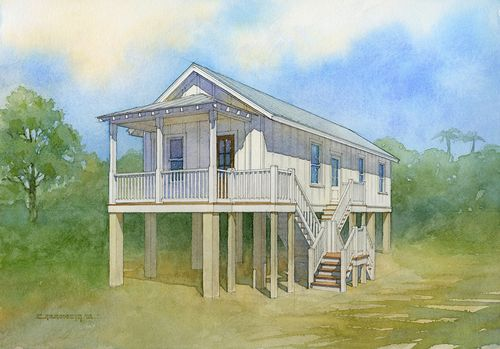 watercolor painting of the model homes being built with the florida keys community land trust