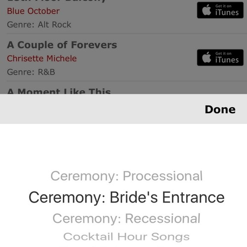 The Music Concierge Wedding Songs Planner App scrolling list of options to choose from