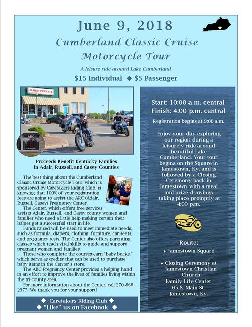 Flyer which details the motorcycle tour and its purpose. The tour takes place June 9, 2018 and is $15 for an individual and $5 for a passenger. The tour starts at 10:00 a.m. central and finishes at 4:00 p.m. central. Registration begins at 9:00 a.m.